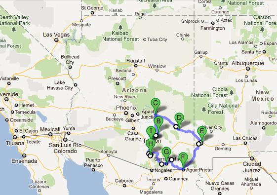 Winter Bike Tour Arizona Team Kaker - Google maps arizona